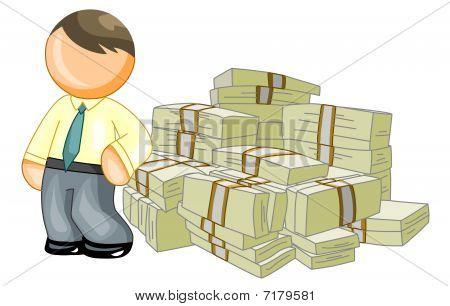man leans on money