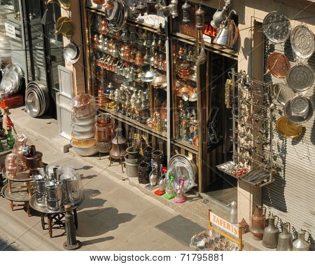 ISTANBUL, TURKEY - AUGUST 8, 2007: Craft shop presents the products on the street. Handicraft shops are very popular among tourists
