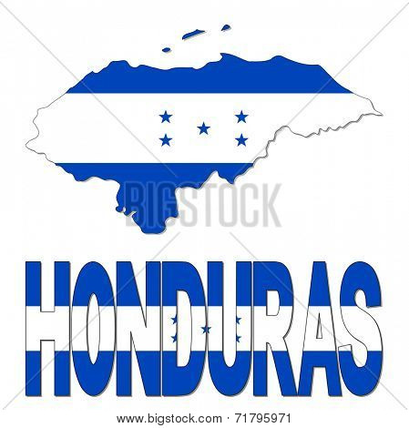 Honduras map flag and text vector illustration