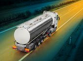 foto of hazardous  - Tanker truck on the highway - JPG