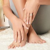 picture of toe nail  - Female hands and feet with manicure and pedicure - JPG