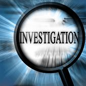image of investigator - investigation on a blue background with a magnifier - JPG