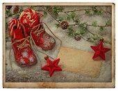 stock photo of christmas baby  - vintage style christmas postcard - JPG