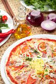 stock photo of carbonara  - Pizza Carbonara with Bacon - JPG