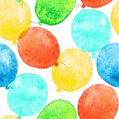 image of helium  - Seamless pattern with colorful watercolor balloons - JPG