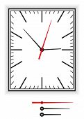 picture of analog clock  - Rectangular clock face as part of an analog clock with black and red pointers - JPG