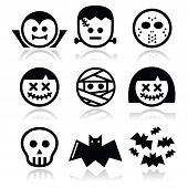 stock photo of voodoo  - Vector icons set of creepy or scary Halloween characters isolated on white - JPG