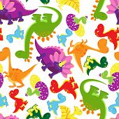 stock photo of dinosaur-eggs  - Seamless background pattern of bright vividly colored baby dinosaurs in random orientations in square format suitable for kids wallpaper  wrapping paper  fabric or tile  vector illustration - JPG