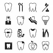 picture of antibiotics  - Black and white vector dental icons set showing a dentist  examination  caries  implant  toothbrush  antibiotics  crown  filling  x - JPG