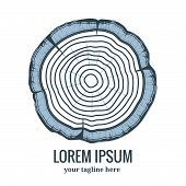 foto of cross-section  - Annual tree growth rings logo icon with greyscale vector drawing of the cross - JPG