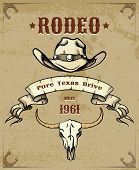 stock photo of wrangler  - Rodeo Themed Graphic with Cowboy Hat and Cattle Skull - JPG