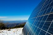 stock photo of solar battery  - solar cells on the top of the mountain italy - JPG