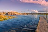 foto of dock a lake  - a colorful sunset from the boat dock on willow lake prescott arizona - JPG