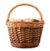 picture of handicrafts  - vintage weave wicker basket isolated on white background - JPG
