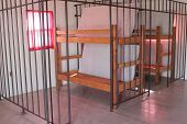 image of bunk-bed  - A double bunk in a pretend jail cell - JPG
