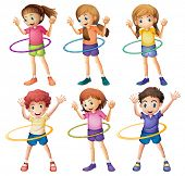 foto of hulahoop  - Illustration of the kids playing hulahoop on a white background - JPG
