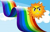 pic of frown  - Illustration of a sun frowning near the rainbow - JPG