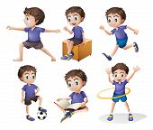 foto of hulahoop  - Illustration of the different activities of a young boy on a white background - JPG