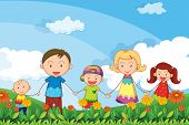 stock photo of stroll  - Illustration of a family strolling in the garden - JPG
