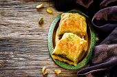 stock photo of baklava  - baklava with pistachio - JPG