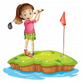 foto of ladies golf  - Illustration of a cute little girl golfing on a white background - JPG