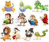 foto of storybook  - Illustration of a group of animals reading on a white background - JPG