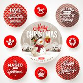 stock photo of cylinder  - Set of round frames with Christmas greetings and flat icons with long shadows  - JPG