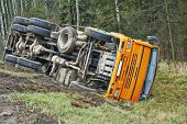 stock photo of accident emergency  - road accident lorry car crash on an highway lane road - JPG