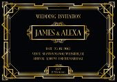 image of intersection  - an art deco style invitation card black and gold card - JPG
