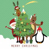 image of bear  - Cute christmas card with Santa reindeer bear and penguin - JPG