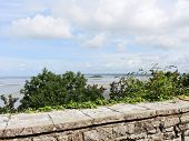 image of mont saint michel  - view of Tombelaine island and tidal bay at low tide from mont saint - JPG