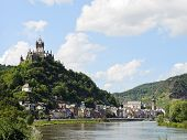 picture of moselle  - view of Cochem on Moselle river and Cochem Imperial castle over town in Germany - JPG