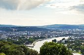 image of moselle  - above view of Deutsches Eck  - JPG