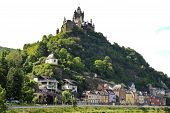stock photo of moselle  - Cochem Imperial castle over Cochem town on Moselle river in Germany - JPG