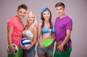 image of frisbee  - Full isolated studio picture from a young people with balls and frisbee - JPG