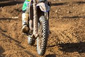 picture of motocross  - Closeup of a motocross bike in a championship - JPG