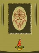 pic of durga  - Durga Diwali Greeting Vector Art - JPG