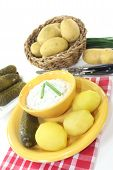 picture of curd  - Herb curd with boiled potatoes and pickled cucumber  - JPG