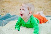 stock photo of crying boy  - Cute baby boy crying frantically on the blanket - JPG