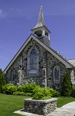 stock photo of cornerstone  - The Little Stone Church on Mackinac Island is a Union Congregational church established in 1900 - JPG