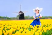 stock photo of national costume  - Adorable curly toddler girl wearing Dutch traditional national costume dress and hat playing in a field of blooming tulips next to a windmill in Amsterdam region - JPG