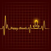 pic of kalash  - Illustration of diwali greeting background with heartbeat - JPG