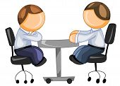 stock photo of people icon  - Vector illustration of two businessmen having meeting in office - JPG