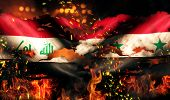 stock photo of iraq  - Iraq Syria Flag War Torn Fire International Conflict 3D - JPG