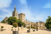 stock photo of avignon  - Popes Palace in Avignon France UNESCO World Heritage Site Popes Palace square - JPG