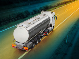 picture of tank truck  - Tanker truck on the highway - JPG
