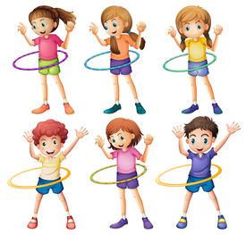 picture of hulahoop  - Illustration of the kids playing hulahoop on a white background - JPG