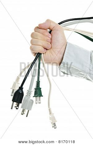 Hand Holding Bundle Of Power Cables