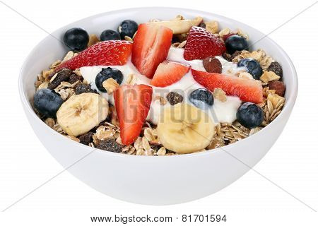 Fruit Muesli For Breakfast In Bowl With Fruits Like Banana And Strawberry Isolated