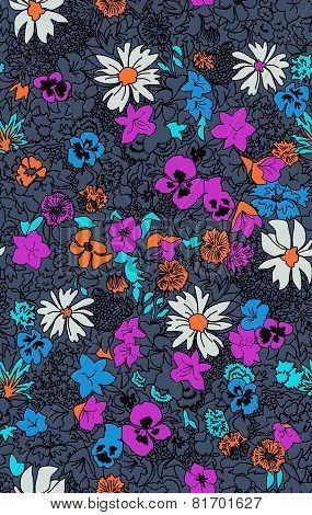 Seamless pattern beautiful decorative flowers